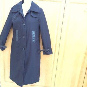 Mackage Long Trench Rain Coat Jacket + Leather S